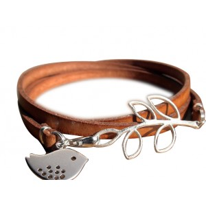 Unique Stainless Steel Brown Leather