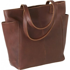 Leather Top Zip Tote