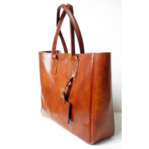 Two-Toned Leather Crossbody Tote