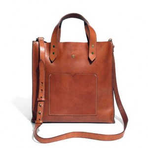 Executive Leather Tote With Expandable Front Pocket
