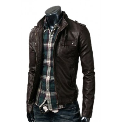 Black Rivet Leather Faded Jacket